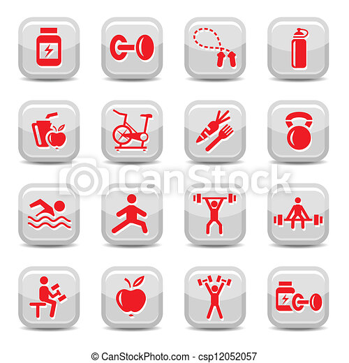 bodybuilding and fitness icons set - csp12052057