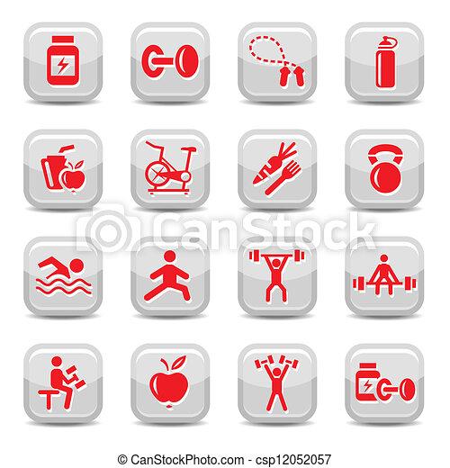 bodybuilding and fitness icons set - csp12052057
