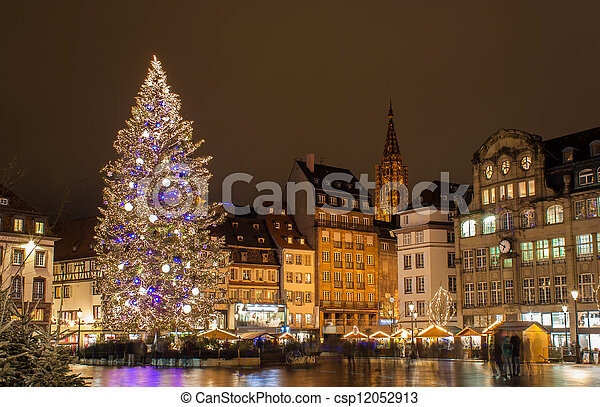 """Christmas tree at Place Kleber in Strasbourg, """"Capital of Christmas"""". Alsace, France - csp12052913"""