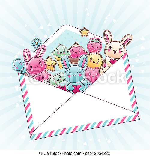 Cute child background with kawaii doodles. - csp12054225
