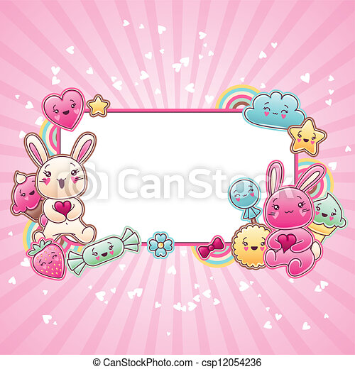 Cute child background with kawaii doodles. - csp12054236