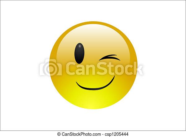 Aqua Emoticons - Wink - csp1205444