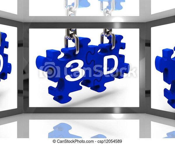 stock illustration von 3d auf schirm ausstellung drei. Black Bedroom Furniture Sets. Home Design Ideas