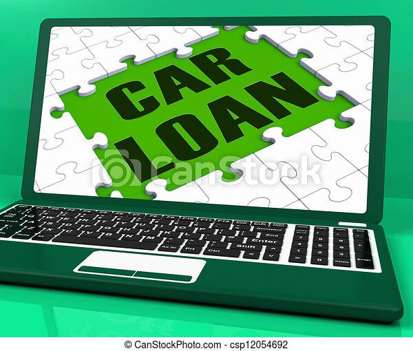 Car Loan On Laptop Shows Automobile Sales Website - csp12054692