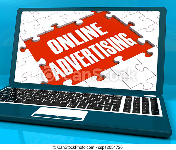 Clip Art Of Online Advertising On Laptop Shows Websites