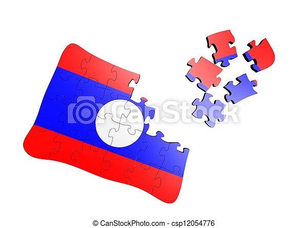 Laos flag puzzle - csp12054776
