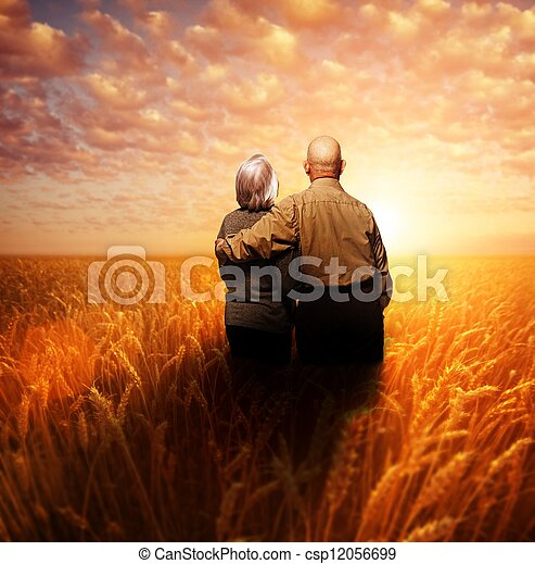 Senior couple standing in a wheat field at sunset - csp12056699