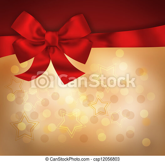 Holiday background with red bow and light stars. Illustration - csp12056803