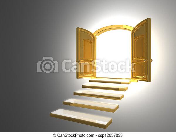 Big Golden Door opened on white - csp12057833