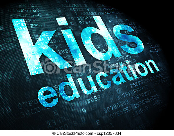 Education concept: kids education on digital background - csp12057834