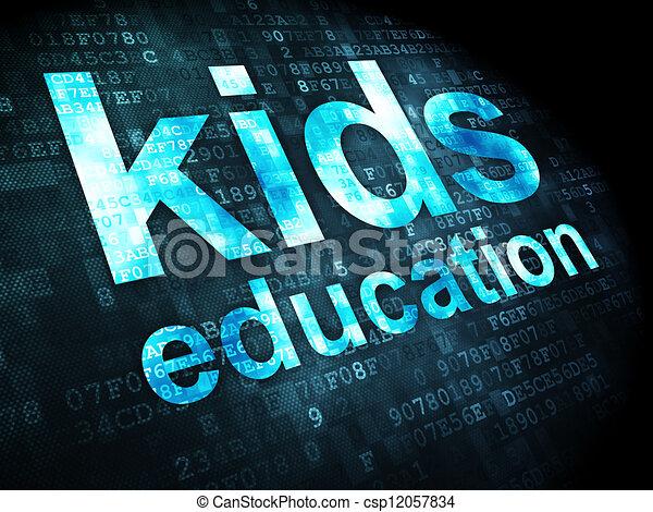 Education concept: kids education on digital background - csp12057834