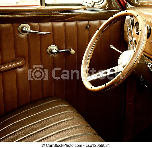 stock photos of vintage car interior csp12059834 search stock images photographs pictures. Black Bedroom Furniture Sets. Home Design Ideas