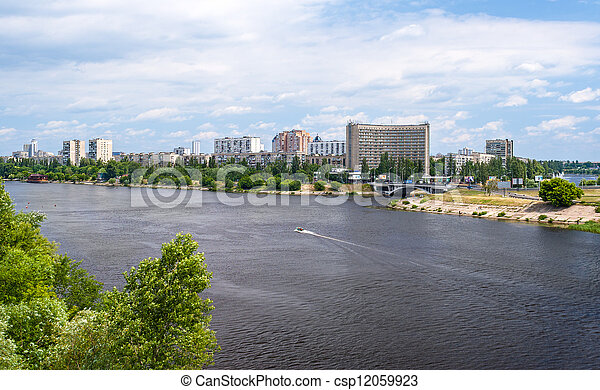 View of Rusanivka, one of Kiev residential communities. Ukraine - csp12059923