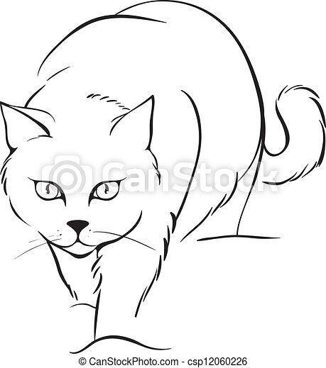Illustration vecteur de contour chat outline chat - Dessin contour ...