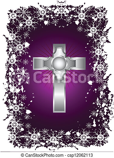 Vector Clip Art of A silver cross on a christmas background with a ...