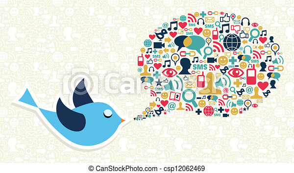 Social media marketing twitter bird concept - csp12062469