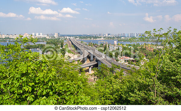 View of highway and railway bridges from a hill over the Dnieper river - csp12062512