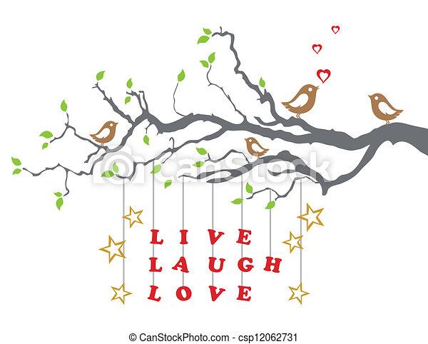 Vecteurs De Arbre Vivant Amour Rire Branche Love Oiseaux Sur A Csp12062731