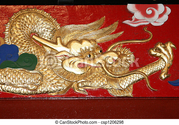 Dragon art - Shuri Castle, Naha , Okinawa, Japan - csp1206298