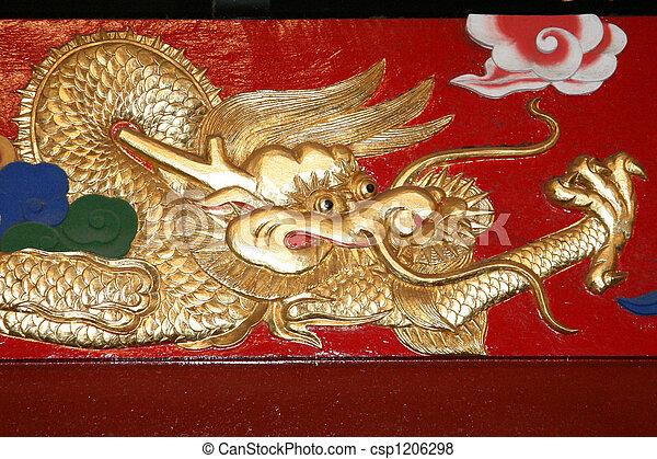 Dragon art - Shuri Castle, Naha , Okinawa, Japan - csp1206298
