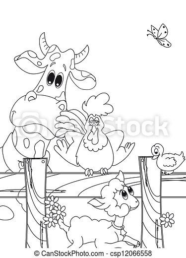 animal farm cartoon - csp12066558