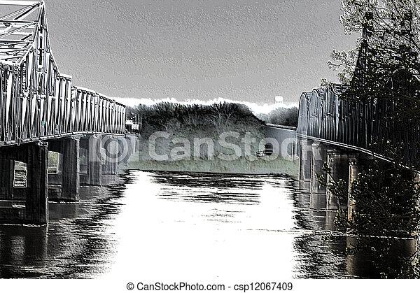 Water 'Tween the Bridges - csp12067409