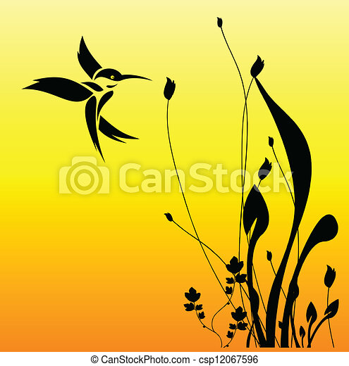 bird and flower - csp12067596