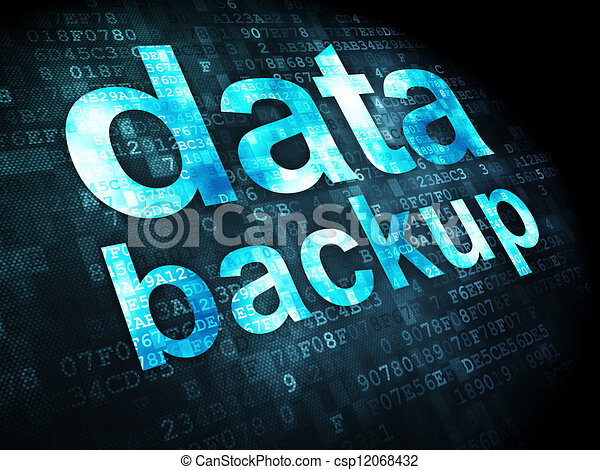 Information concept: data backup on digital background - csp12068432