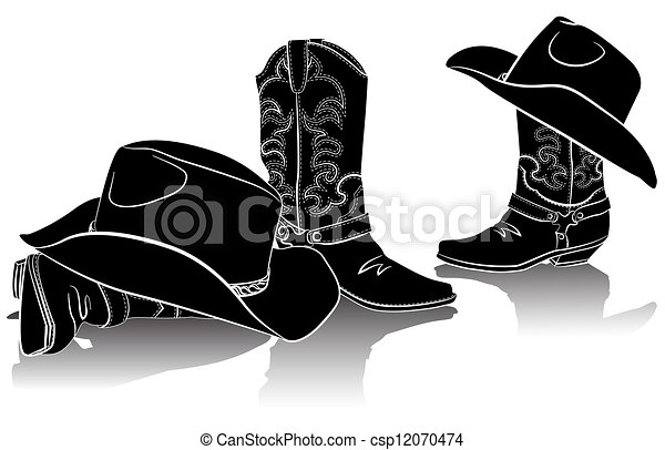 cowboy boots and western hats Black graphic image on white backg
