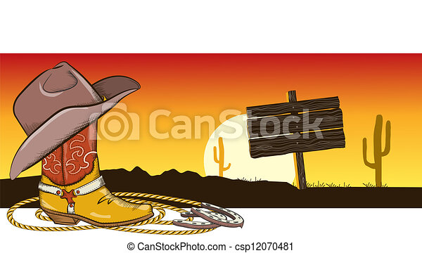 Vector - Western image with Western Desert Clipart