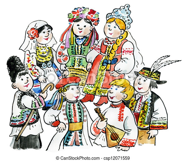 Stock Illustration of european kids - A happy and diverse group of ...