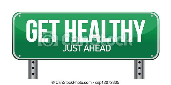 Get Healthy Green Road Sign - csp12072305