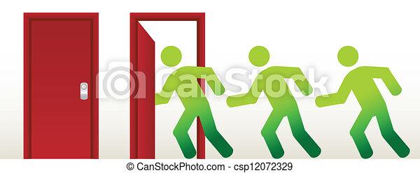 people running into an open door - csp12072329