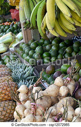 Fresh fruit stall on Market - csp12072985