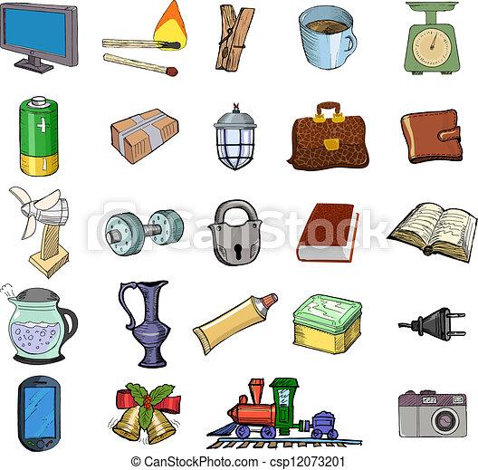 Clipart vecteur de ensemble de maison apparent objets for Objets de la maison