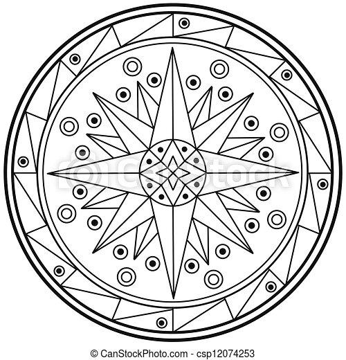 Geometric mandala drawing sacred circle - csp12074253
