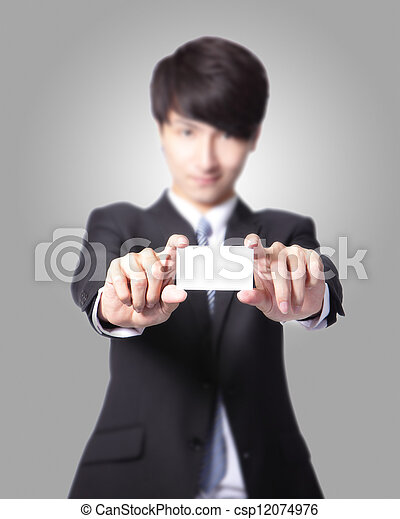 business card in business man hand - csp12074976