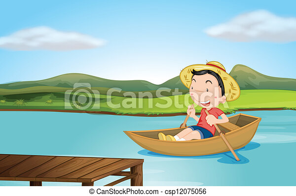 Row Boat Illustration a Boy Rowing a Boat