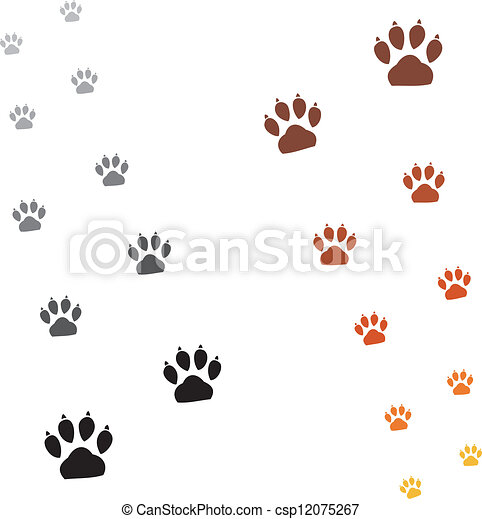 Illustration animals paws print - csp12075267