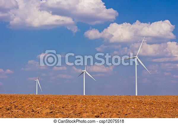 agriculture with wind turbine generator - csp12075518