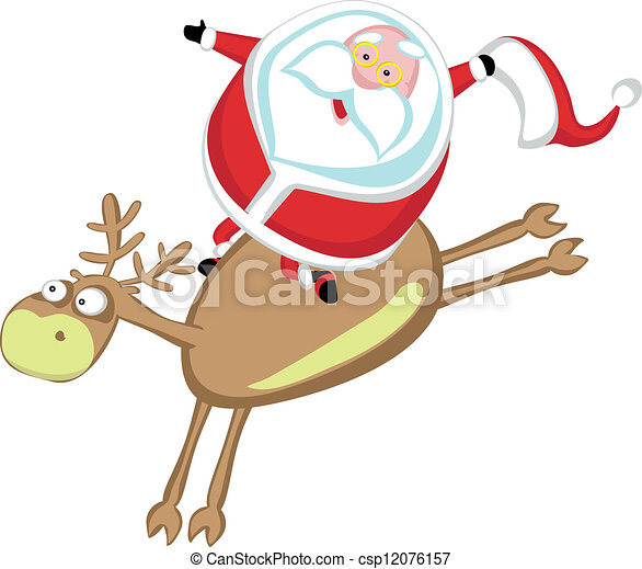 Clipart Vector of Santas rodeo - Funny cartoon Santa riding a ...