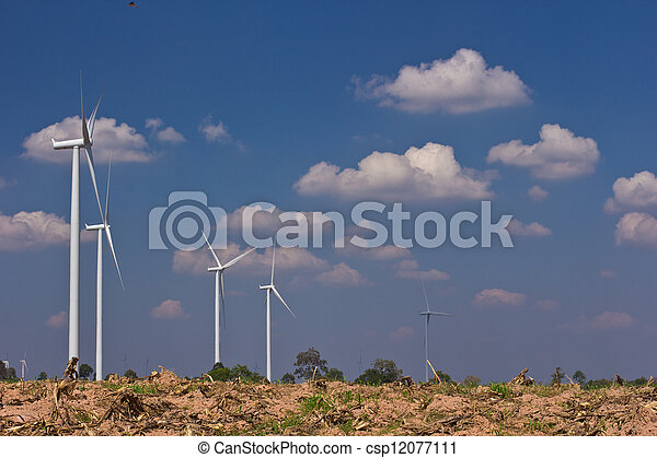 agriculture with wind turbine generator - csp12077111