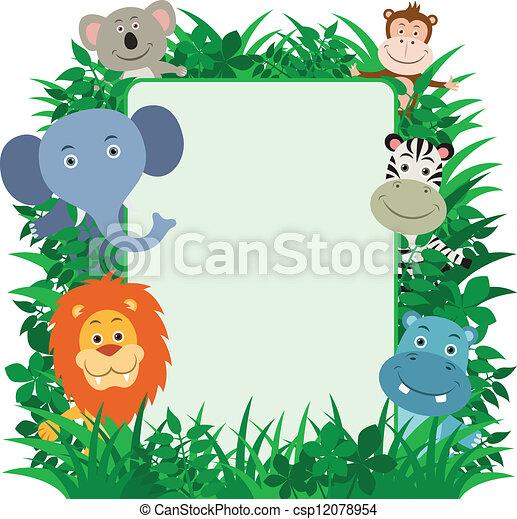 Jungle Animals Frame - csp12078954
