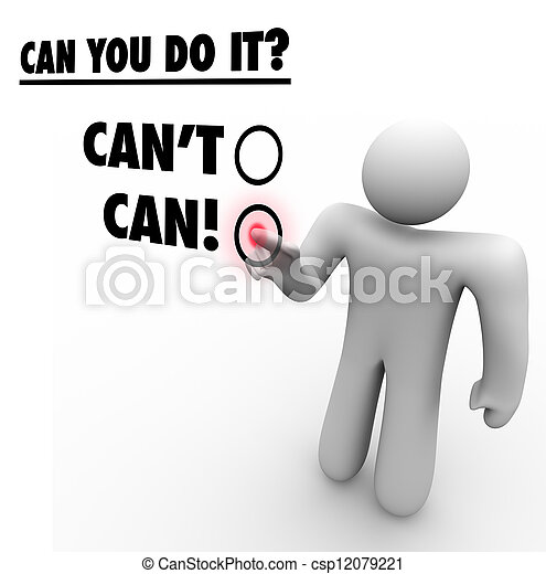 Can Vs Cant Person Choosing Positive Answer Touch Screen - csp12079221