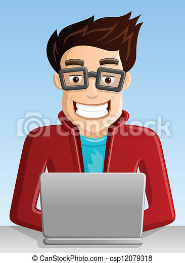 Vector Clip Art of Computer Geek with laptop csp12079318 - Search ...