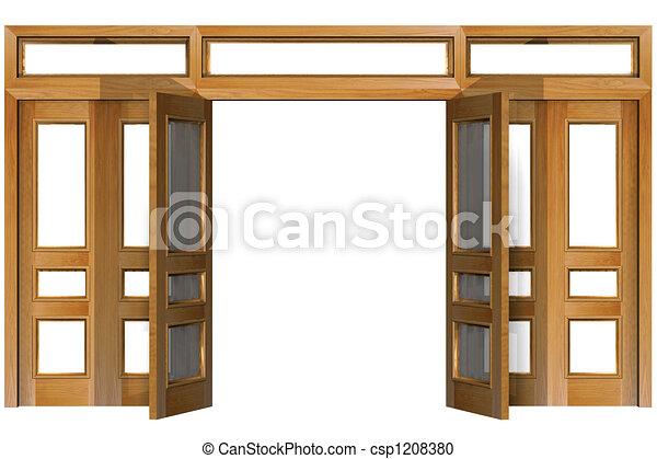 Stock Illustration of Open Doors Open doors isolated on white