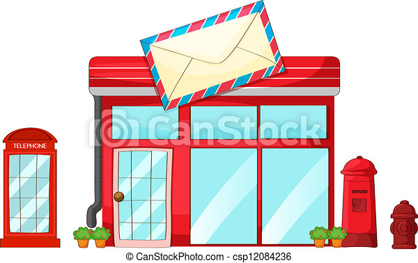 post office, a mailbox, a telephone - stock illustration, royalty free ...