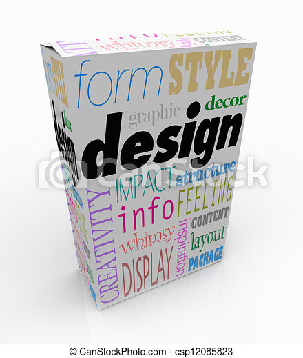 Graphic Design Words Product Box Package Visual Communication - csp12085823