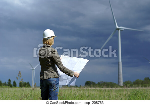 Woman engineer or architect with white safety hat and wind turbines on background - csp1208763