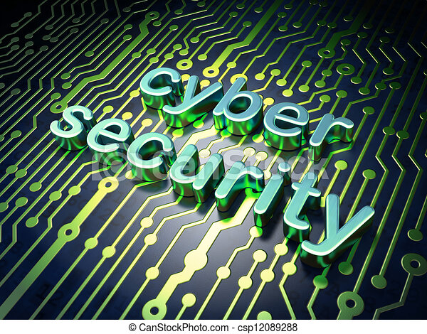 Stock Illustration of Security concept: circuit board with word cyber ...